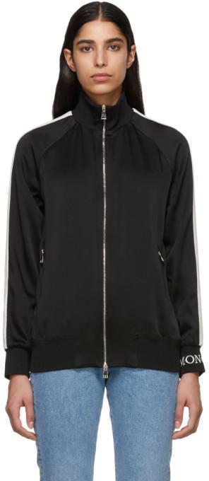 Moncler Black Satin Zip-Up Jacket