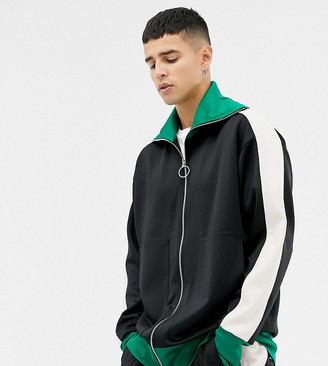 Noak relaxed fit polytricot track jacket-Black