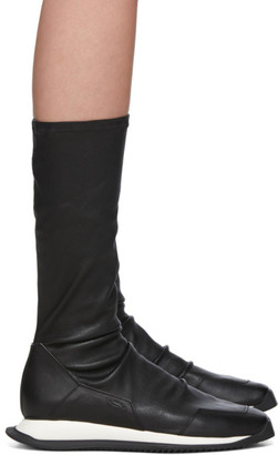 Rick Owens Black Stretch Runner Boots