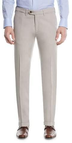 Canali Stretch-Cotton Flat-Front Dress Pants, Stone