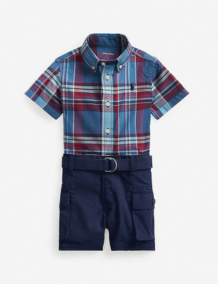 Ralph Lauren Checked cotton shirt and belted cotton shorts set 3-24 months