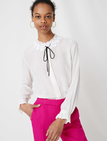 Maje Guipure collar shirt and velvet link