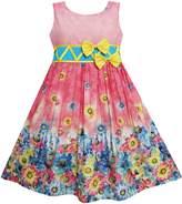 Sunny Fashion FS51 Girls Dress Sunflower Garden Flower Print Cotton