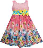 Sunny Fashion FS53 Girls Dress Sunflower Garden Flower Print Cotton