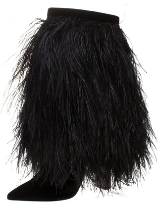 Saint Laurent Black Velvet And Ostrich Feather Mid Calf Boots Size 37
