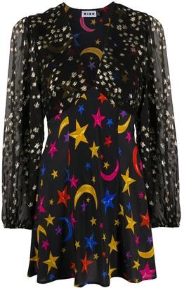 Rixo Lia mixed-print mini dress