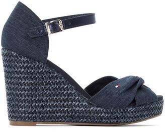 Tommy Hilfiger Linen Denim Espadrille Sandals with Wedge Heel