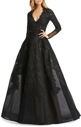 Mac Duggal Queen Anne Long-Sleeve Floral Applique Ball Gown