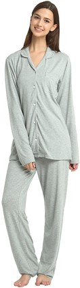Jasmine Silk Women Classic Jersey Modal Pyjama Set - Silver Grey (Large)