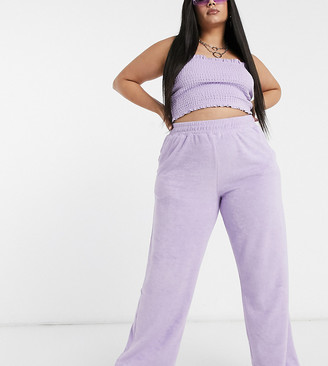 Collusion Plus exclusive textured towelling wide leg trousers in lilac