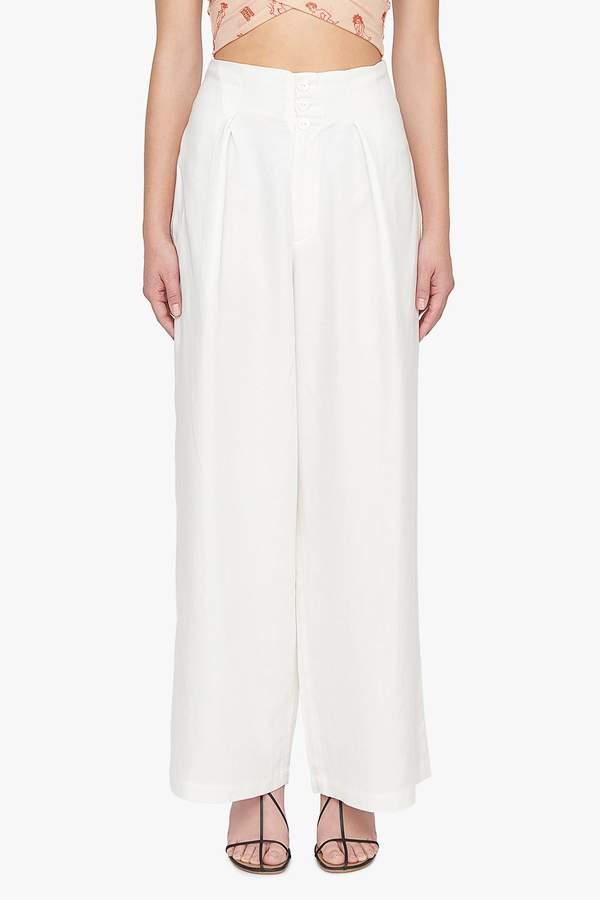 Genuine People Cotton Linen Blend Wide Leg Trousers