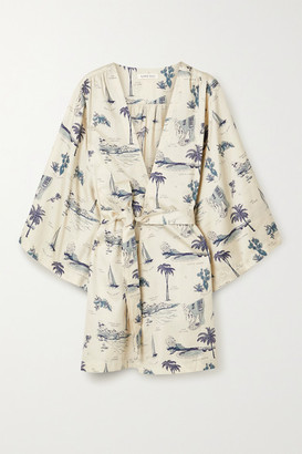 LOVE Stories Yoko Printed Cotton-sateen Robe - Ivory