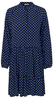 MBYM Navy Marranie Dotted Print Dress - small