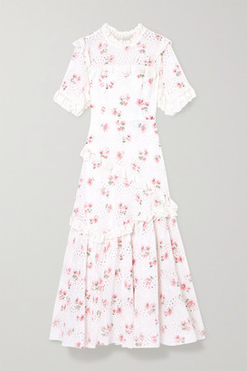 Needle & Thread Desert Rose Ruffled Floral-print Broderie Anglaise Cotton-blend Midi Dress - White
