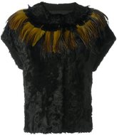 Yves Salomon short-sleeve shearling jacket - women - Silk/Polyester/Aligator Leather/Feather - 36