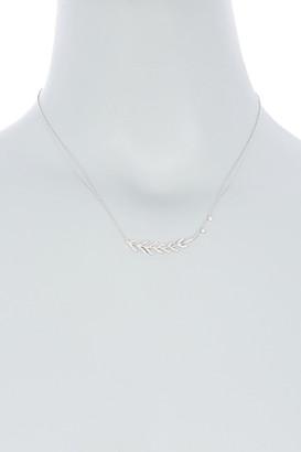 Meira T 14K White Gold Pave Diamond Olive Branch Pendant Necklace