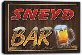 AdvPro Canvas scw3-074629 SNEYD Name Home Bar Pub Beer Mugs Cheers Stretched Canvas Print Sign