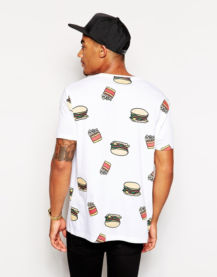 Asos T-Shirt With All Over Fast Food Print And Skater Fit