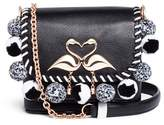 Sophia Webster 'Claudie' pompom flamingo charm leather flap bag