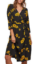 Miss Selfridge Floral Wrap Midi Dress, Black/Ochre