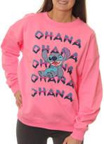 Asstd National Brand Lilo & Stitch Juniors' Ohana Winking Stitch Neon Crewneck Graphic Sweatshirt