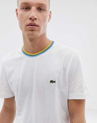 Lacoste tipped ringer t-shirt in white