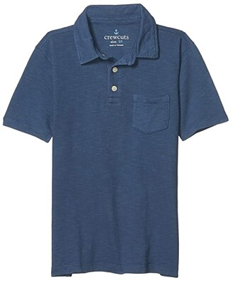 crewcuts by J.Crew Short Sleeve Garment Dye Polo (Toddler/Little Kids/Big Kids) (Estate Blue) Boy's Clothing