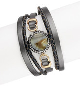 Saachi Grey Agate& Crystal Detail Leather Strand Bracelet