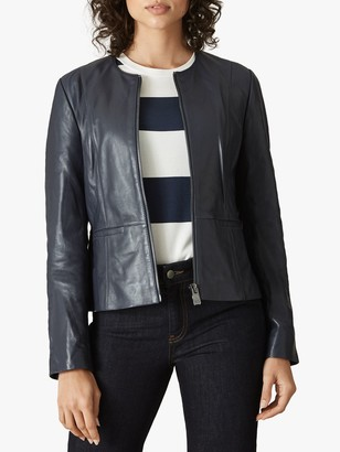 Jaeger Fitted Leather Jacket, Navy