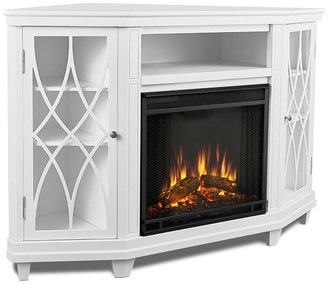 Pottery Barn Real Flame Lynette Corner Electric Fireplace Media Cabinet