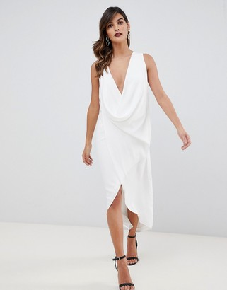 Asos DESIGN sleeveless drape fold neck midi dress in crepe