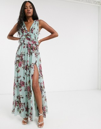 ASOS DESIGN pleat bodice maxi dress with raw edge detail in floral print