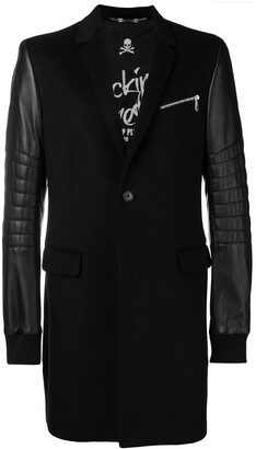 Philipp Plein Leather Sleeves Coat