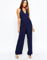 Warehouse Plunge Neck Halter Jumpsuit