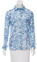 Carven Patterned Button-Up Top w/ Tags