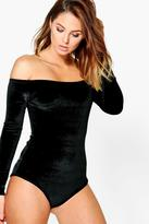 Boohoo Holly Velvet Bardot Long Sleeve Bodysuit