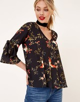 Girls On Film Tie Sleeve Print Top