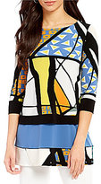 Eva Varro 3/4 Sleeve Prisma Printed Tunic