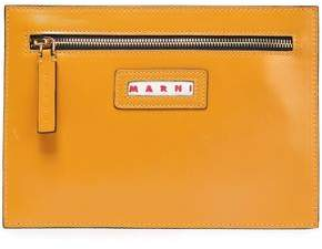 Marni Glossed-leather Pouch