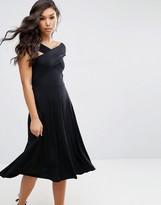 Asos Midi Skater Dress with Bardot Neckline
