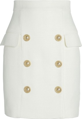 Balmain High-Waist Grain De Poudre Mini Skirt