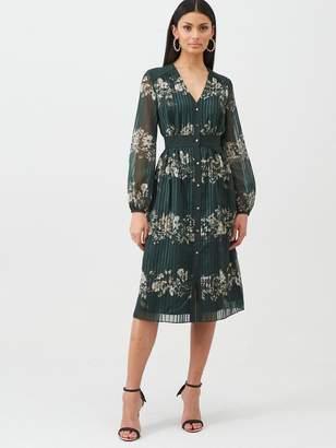 Ted Baker Delyla Meadowsweet Long Sleeve Midi Dress - Dark Green