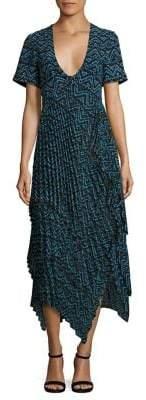 A.L.C. Kylia Plisse Silk Maxi Dress