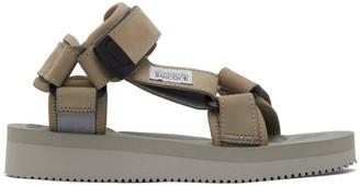 Suicoke Taupe and Grey Nubuck DEPA-V2NU Sandals