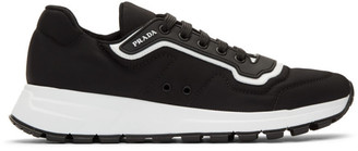 Prada Black and White Gabardine Soft Sneakers