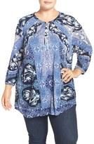 Lucky Brand Plus Size Women's 'Morrocan' Mix Print Top