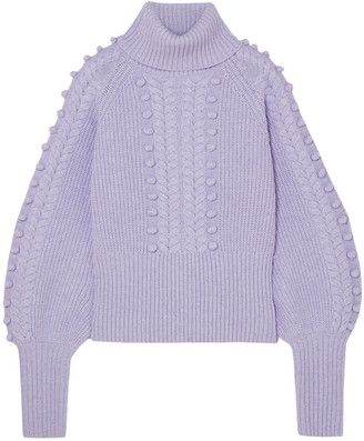 Temperley London Chrissie Cable-knit Merino Wool Turtleneck Sweater