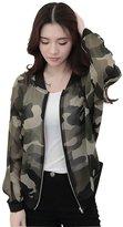 Tenworld Women Autumn Long Sleeve Zipper Camouflage Printed Bomber Jacket Coat (S, )