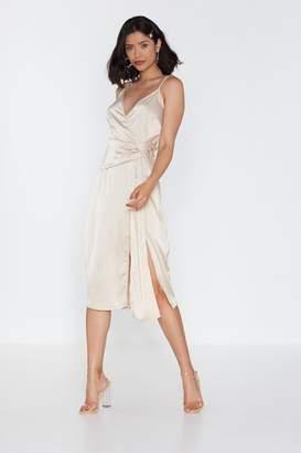 Nasty Gal Womens Wrap Drape Detail Midi Dress - Tan - 10, Tan
