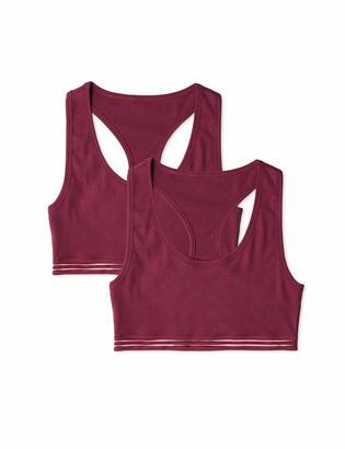 Iris & Lilly Amazon Brand Women's Cotton Rib Sports Bra Pack of 2